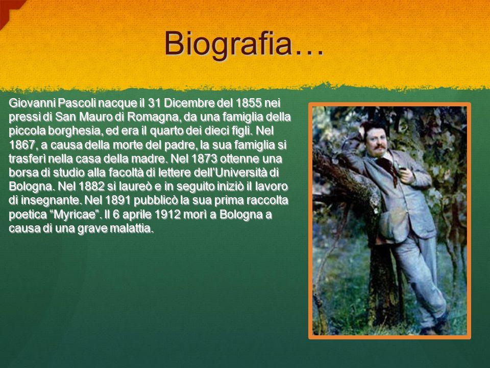Biografia… Giovanni Pascoli nacque il 31 Dicembre del 1855 nei pressi di San Mauro di Romagna, da una famiglia della piccola borghesia, ed era il quar