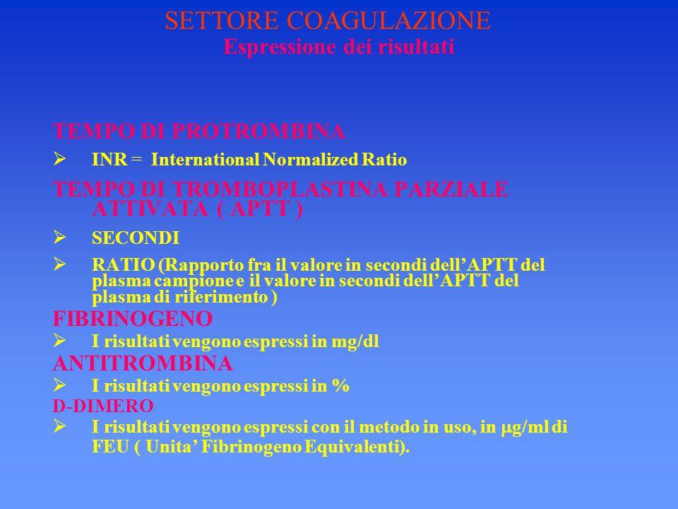 Espressione dei risultati TEMPO DI PROTROMBINA  INR = International Normalized Ratio TEMPO DI TROMBOPLASTINA PARZIALE ATTIVATA ( APTT )  SECONDI  R