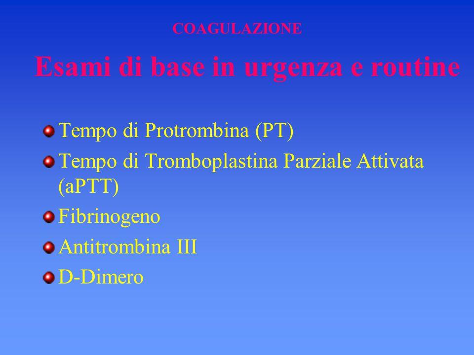COAGULAZIONE Tempo di Protrombina (PT) Tempo di Tromboplastina Parziale Attivata (aPTT) Fibrinogeno Antitrombina III D-Dimero Esami di base in urgenza
