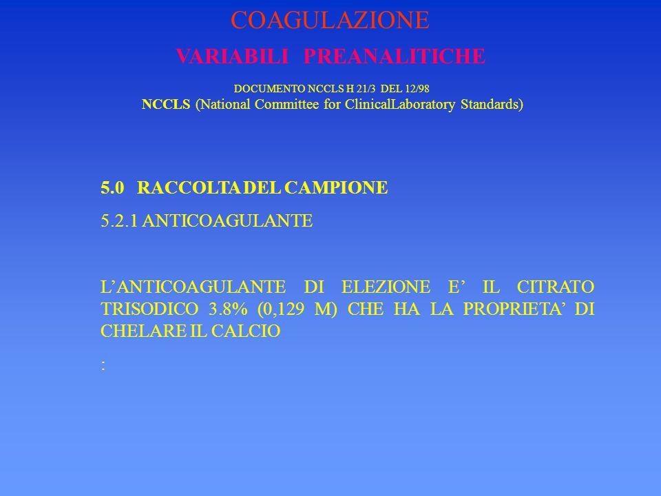 VARIABILI PREANALITICHE DOCUMENTO NCCLS H 21/3 DEL 12/98 NCCLS (National Committee for ClinicalLaboratory Standards) 5.0 RACCOLTA DEL CAMPIONE 5.2.2 RAPPORTO SANGUE/ANTICOAGULANTE IL RAPPORTO SANGUE/ANTICOAGULANTE DEVE ESSERE 10:1 COAGULAZIONE