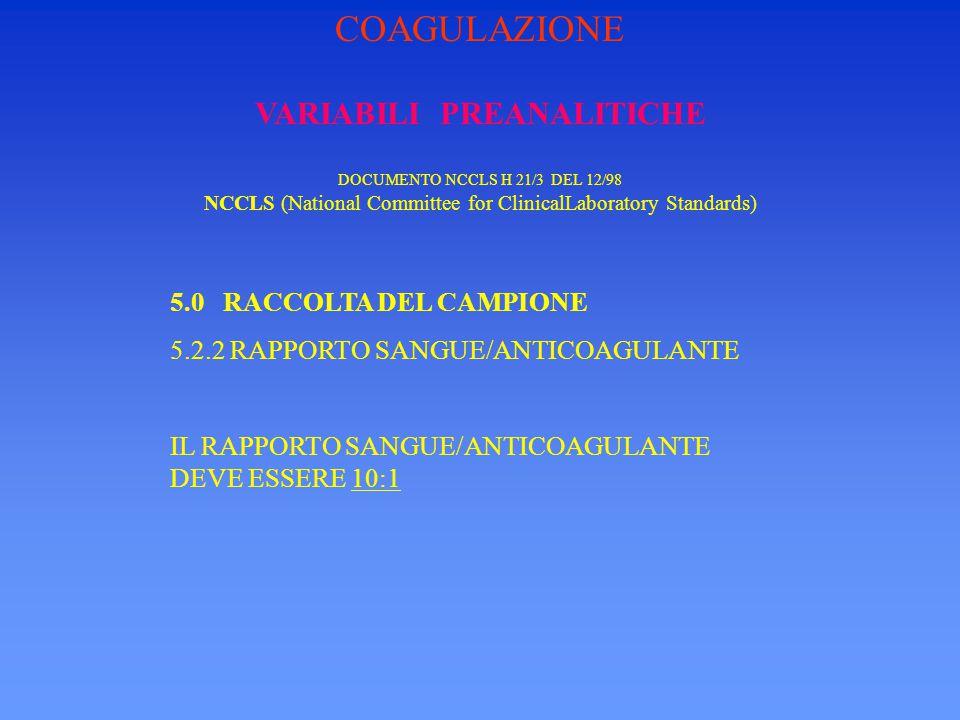 VARIABILI PREANALITICHE DOCUMENTO NCCLS H 21/3 DEL 12/98 NCCLS (National Committee for ClinicalLaboratory Standards) 5.0 RACCOLTA DEL CAMPIONE 5.3 CALIBRO DELL'AGO IL CALIBRO DEGLI AGHI DA UTILIZZARE PER IL PRELIEVO PER I TEST DI COAGULAZIONE PUO' VARIARE DA 22 A 19.