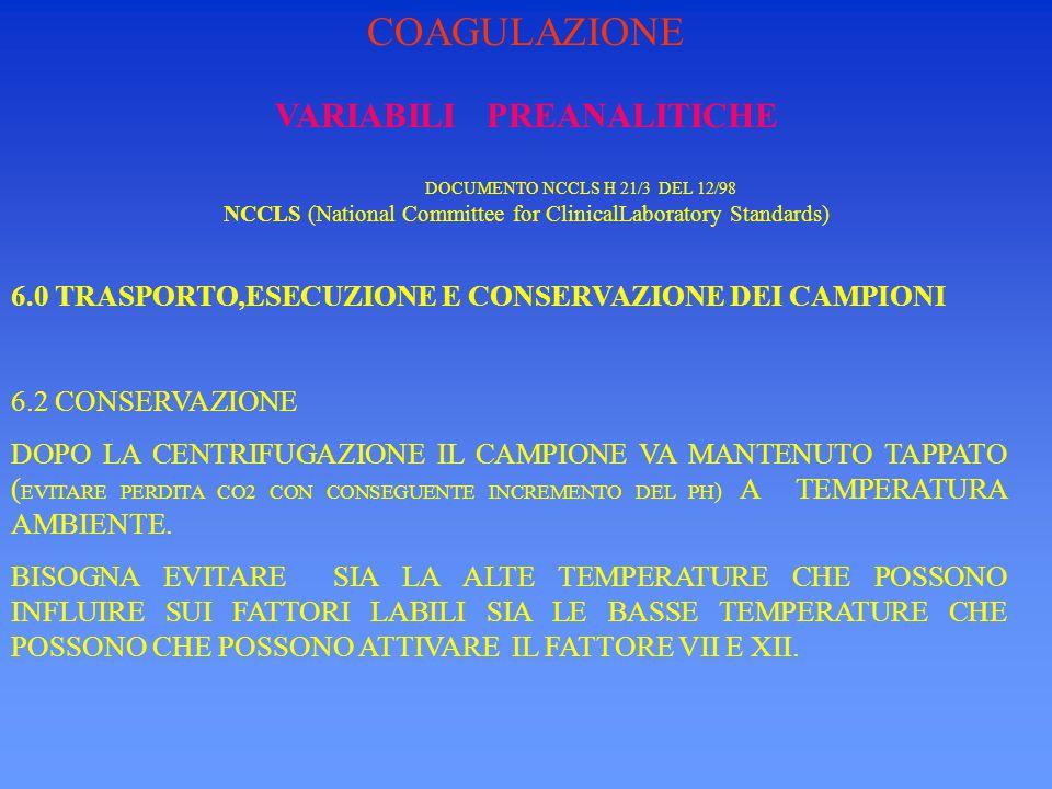 VARIABILI PREANALITICHE DOCUMENTO NCCLS H 21/3 DEL 12/98 NCCLS (National Committee for ClinicalLaboratory Standards) 6.0 TRASPORTO,ESECUZIONE E CONSERVAZIONE DEI CAMPIONI 6.2 CONSERVAZIONE LA STABILITA' VARIA A SECONDA DEI METODI,MA NORMALMENTE SI AGGIRA SULLE 4 ORE.