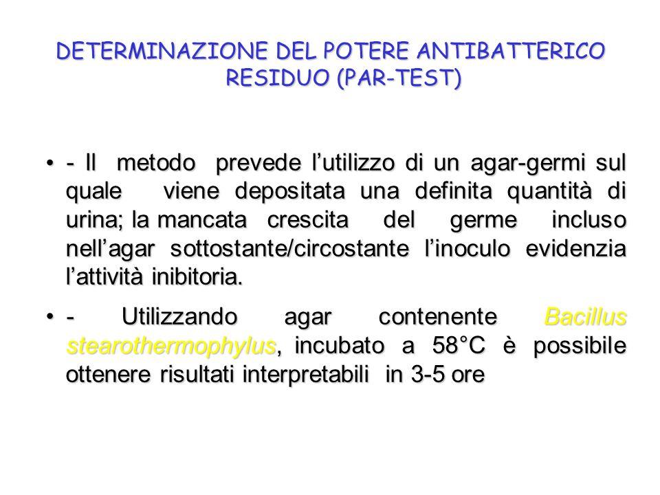 - Il metodo prevede l'utilizzo di un agar-germi sul quale viene depositata una definita quantità di urina; la mancata crescita del germe incluso nell'