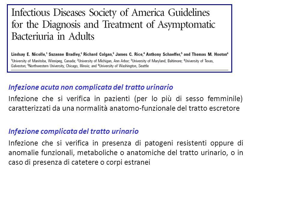Clinical Infectious Diseases 2005; 40:643 Infezione acuta non complicata del tratto urinario Infezione che si verifica in pazienti (per lo più di sess