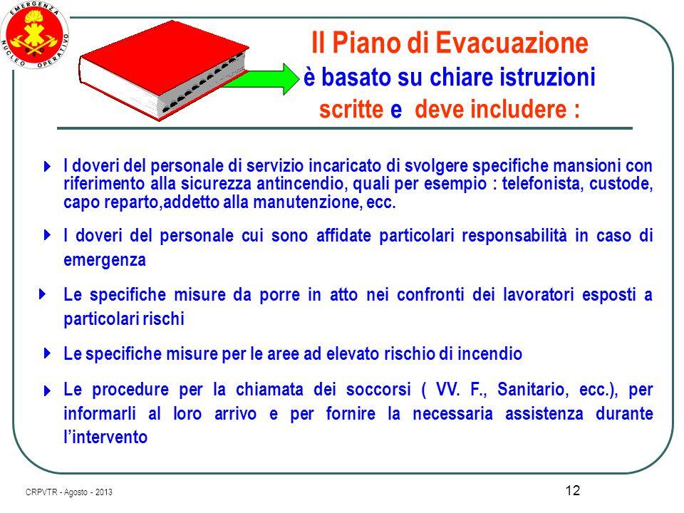 11 Contenuti del Piano di Evacuazione       Il Piano di Evacuazione deve essere modificato se modificate sono le condizioni sostanziali per le q