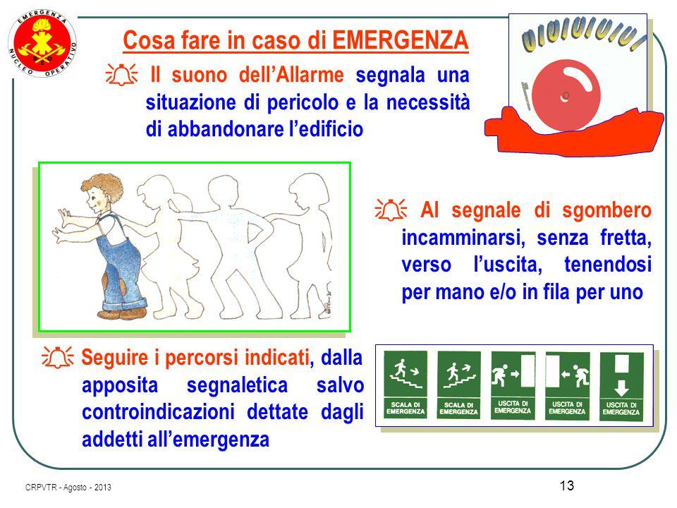 12 Il Piano di Evacuazione è basato su chiare istruzioni scritte e deve includere : I doveri del personale di servizio incaricato di svolgere specific
