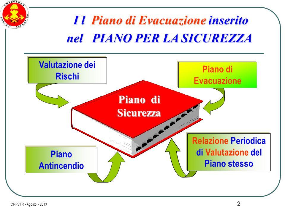 """1 PIANO DI EVACUAZIONE """" Struttura Operativa """" NOZIONI BASE PER LA REDAZIONE e UTILIZZO di UNO STRUMENTO ESSENZIALE per la SICUREZZA CRPVTR - Agosto -"""