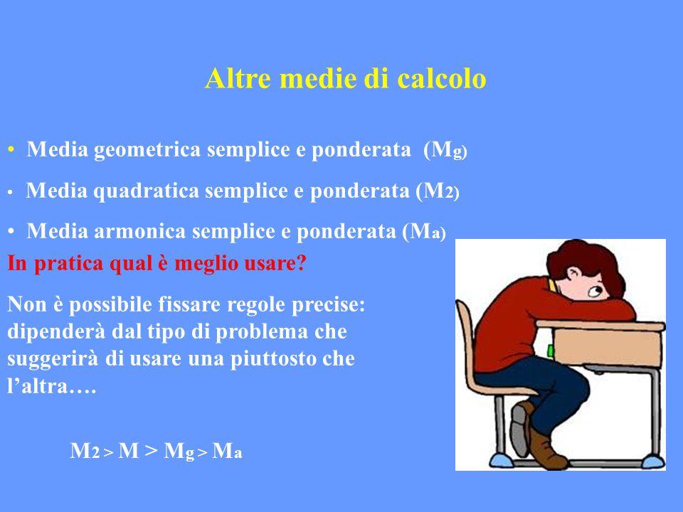 Altre medie di calcolo Media geometrica semplice e ponderata (M g) Media quadratica semplice e ponderata (M 2) Media armonica semplice e ponderata (M
