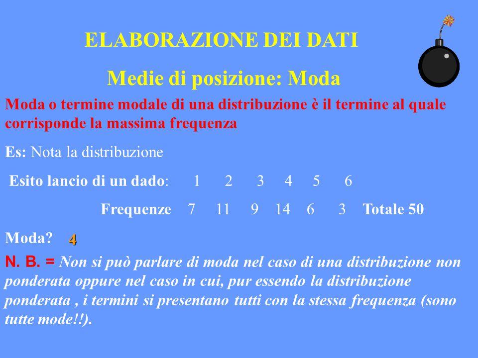 ELABORAZIONE DEI DATI Medie di posizione: Moda Moda o termine modale di una distribuzione è il termine al quale corrisponde la massima frequenza Es: N