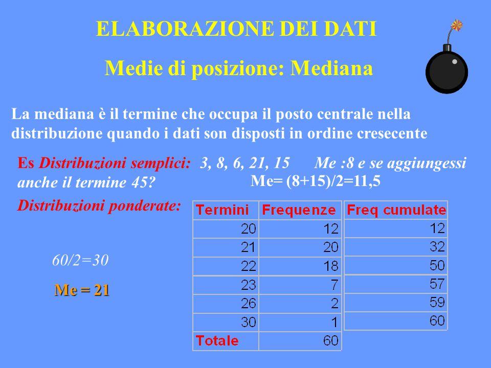 ELABORAZIONE DEI DATI Medie di posizione: Mediana La mediana è il termine che occupa il posto centrale nella distribuzione quando i dati son disposti