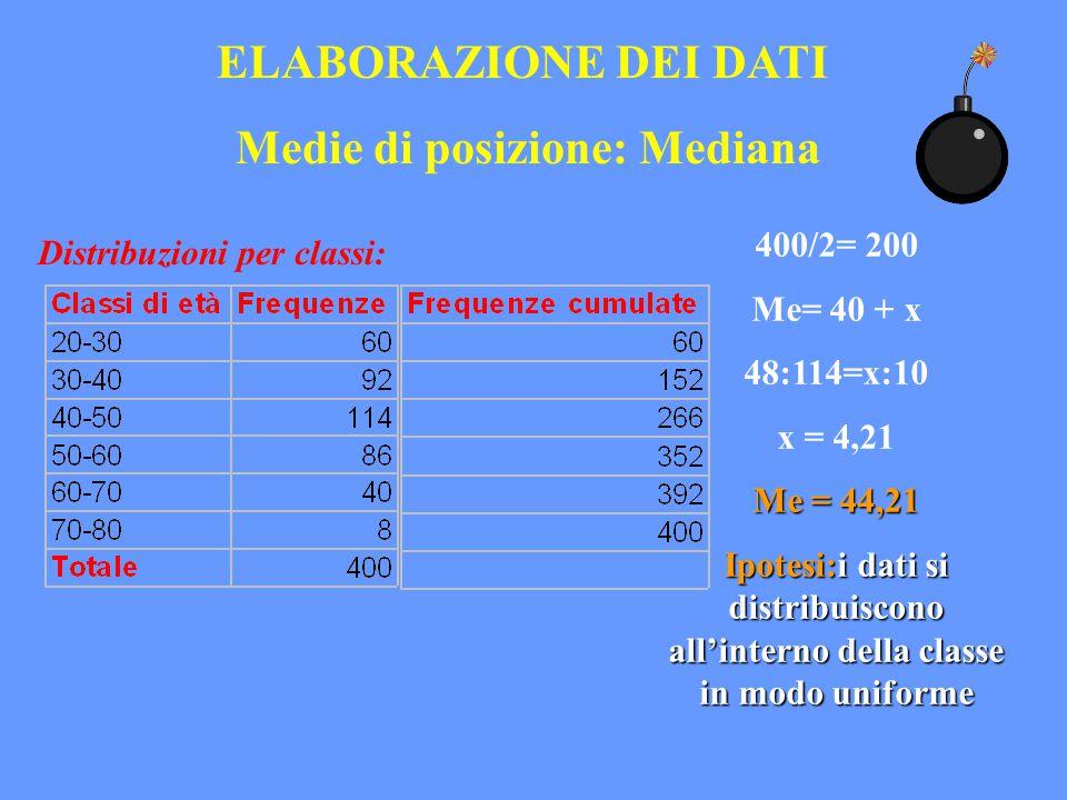 ELABORAZIONE DEI DATI Medie di posizione: Mediana Distribuzioni per classi: 400/2= 200 Me= 40 + x 48:114=x:10 x = 4,21 Me = 44,21 Ipotesi:i dati si di
