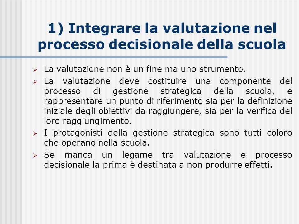 1) Integrare la valutazione nel processo decisionale della scuola  La valutazione non è un fine ma uno strumento.