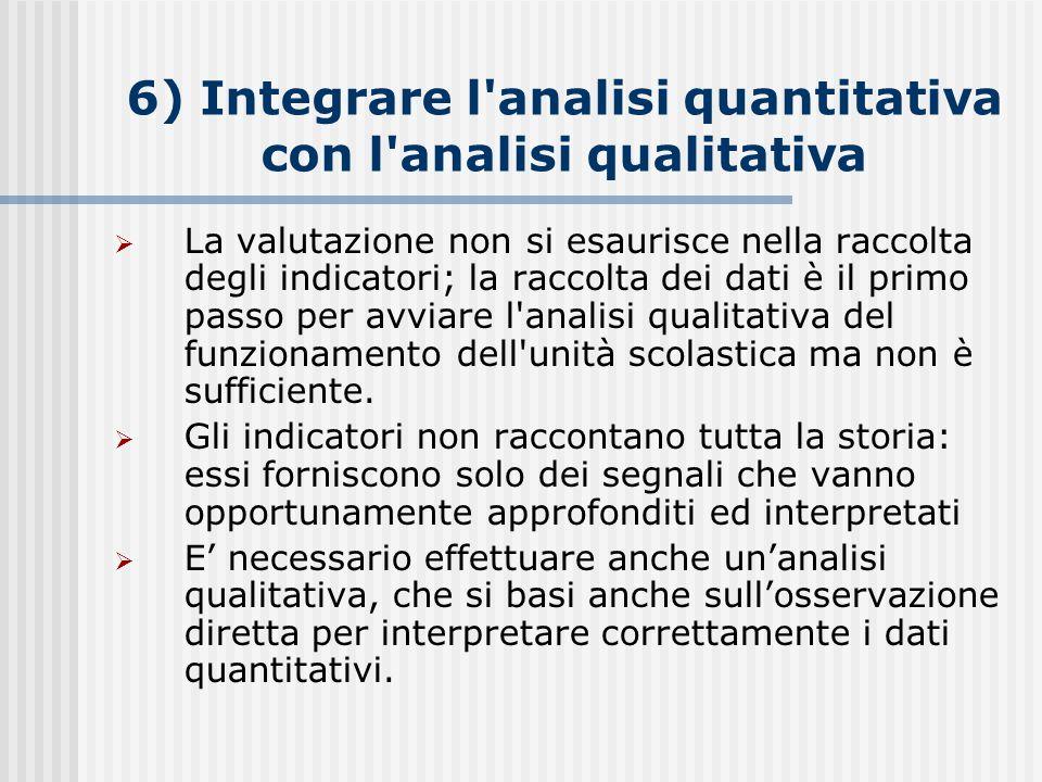 6) Integrare l analisi quantitativa con l analisi qualitativa  La valutazione non si esaurisce nella raccolta degli indicatori; la raccolta dei dati è il primo passo per avviare l analisi qualitativa del funzionamento dell unità scolastica ma non è sufficiente.