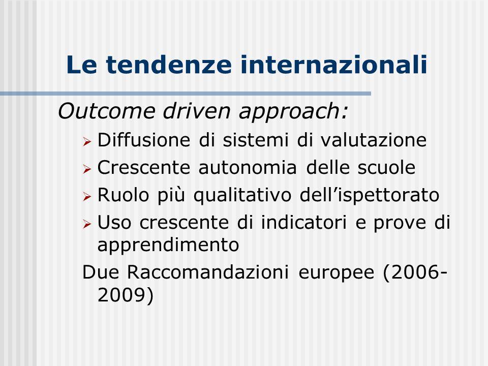 Le tendenze internazionali Outcome driven approach:  Diffusione di sistemi di valutazione  Crescente autonomia delle scuole  Ruolo più qualitativo dell'ispettorato  Uso crescente di indicatori e prove di apprendimento Due Raccomandazioni europee (2006- 2009)