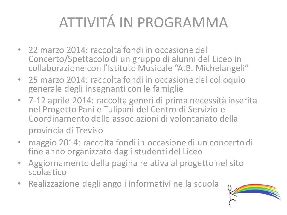 ATTIVITÁ IN PROGRAMMA 22 marzo 2014: raccolta fondi in occasione del Concerto/Spettacolo di un gruppo di alunni del Liceo in collaborazione con l'Istituto Musicale A.B.