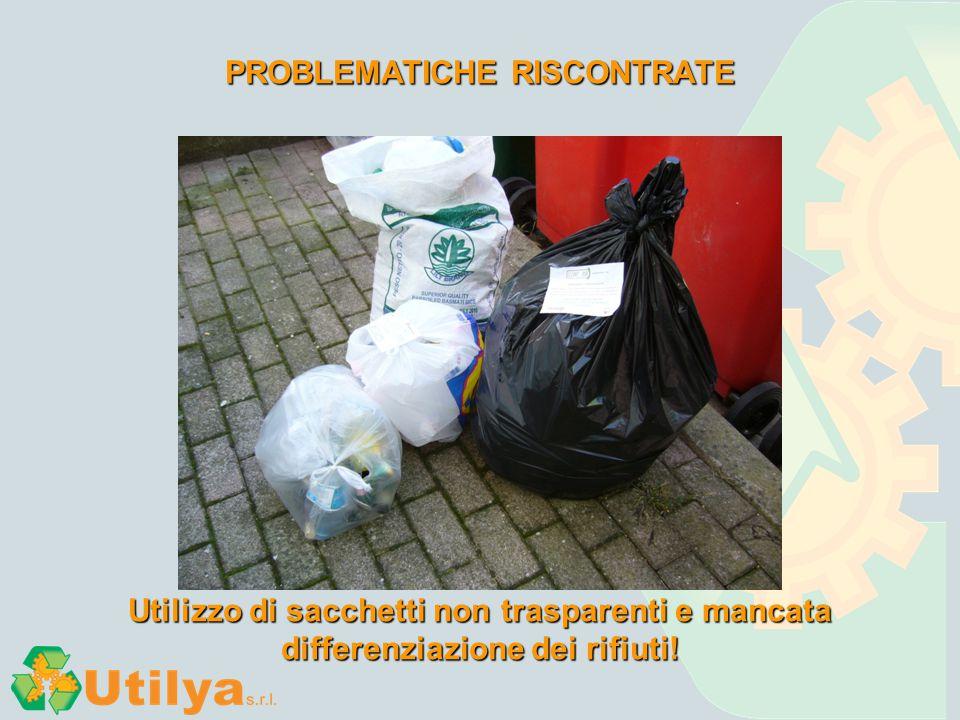 PROBLEMATICHE RISCONTRATE Utilizzo di sacchetti non trasparenti e mancata differenziazione dei rifiuti!