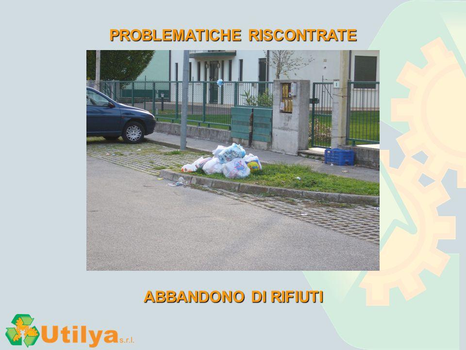 PROBLEMATICHE RISCONTRATE ABBANDONO DI RIFIUTI