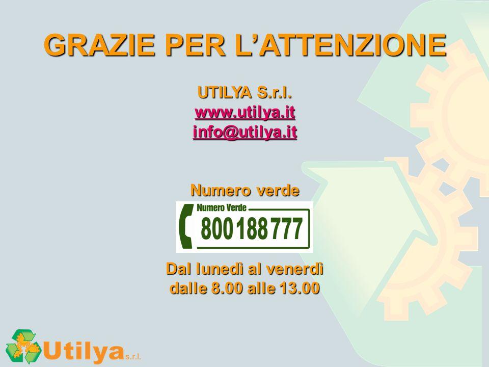 GRAZIE PER L'ATTENZIONE UTILYA S.r.l. www.utilya.it info@utilya.it Numero verde Dal lunedì al venerdì dalle 8.00 alle 13.00