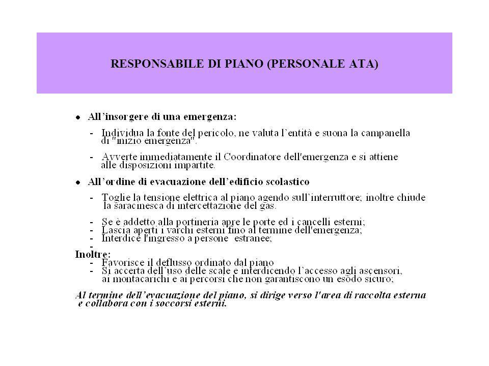 RESPONSABILE DELL EVACUAZIONE DELLA CLASSE - DOCENTE