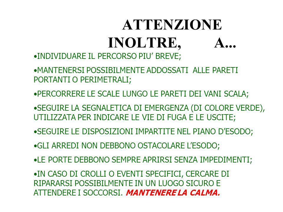 IN CASO DI ALLARME: MANTENERE LA CALMA;MANTENERE LA CALMA; INTERROMPERE OGNI ATTIVITA' SVOLTA;INTERROMPERE OGNI ATTIVITA' SVOLTA; ABBANDONARE IN SILEN