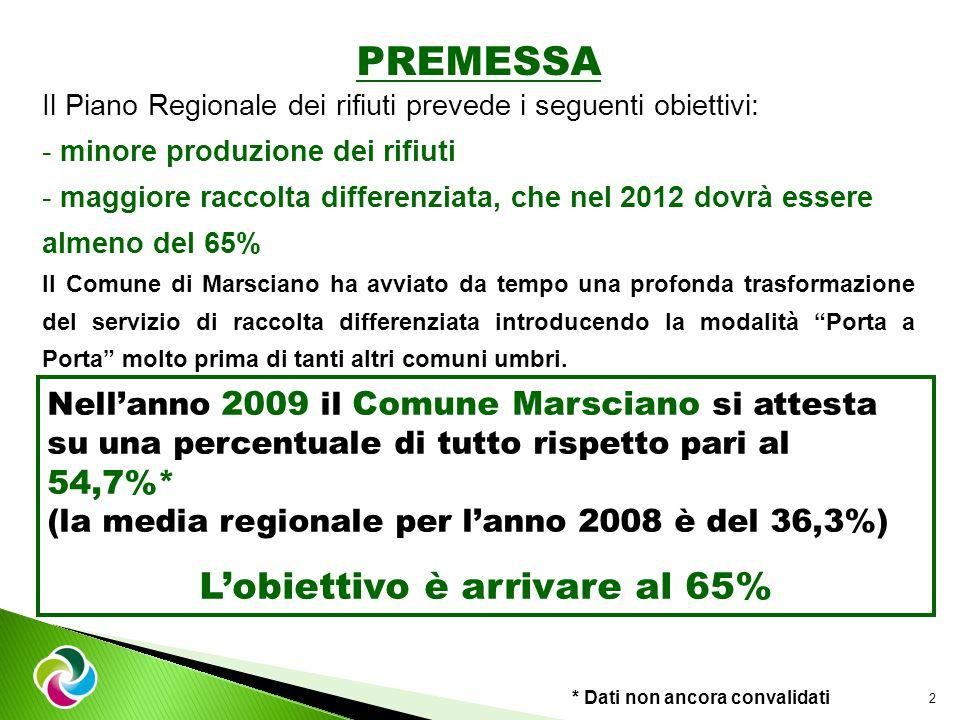 PREMESSA Il Piano Regionale dei rifiuti prevede i seguenti obiettivi: - minore produzione dei rifiuti - maggiore raccolta differenziata, che nel 2012