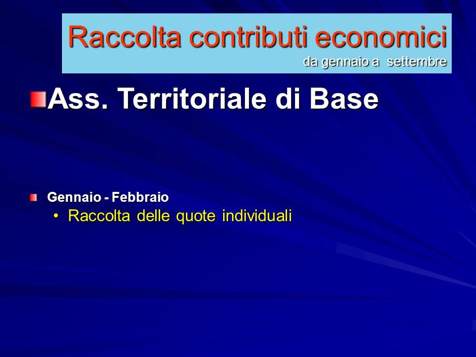 Raccolta contributi economici da gennaio a settembre Ass.