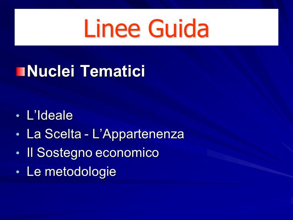 Nuclei Tematici L'Ideale L'Ideale La Scelta - L'Appartenenza La Scelta - L'Appartenenza Il Sostegno economico Il Sostegno economico Le metodologie Le metodologie