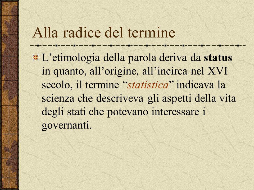 """Alla radice del termine L'etimologia della parola deriva da status in quanto, all'origine, all'incirca nel XVI secolo, il termine """"statistica"""" indicav"""