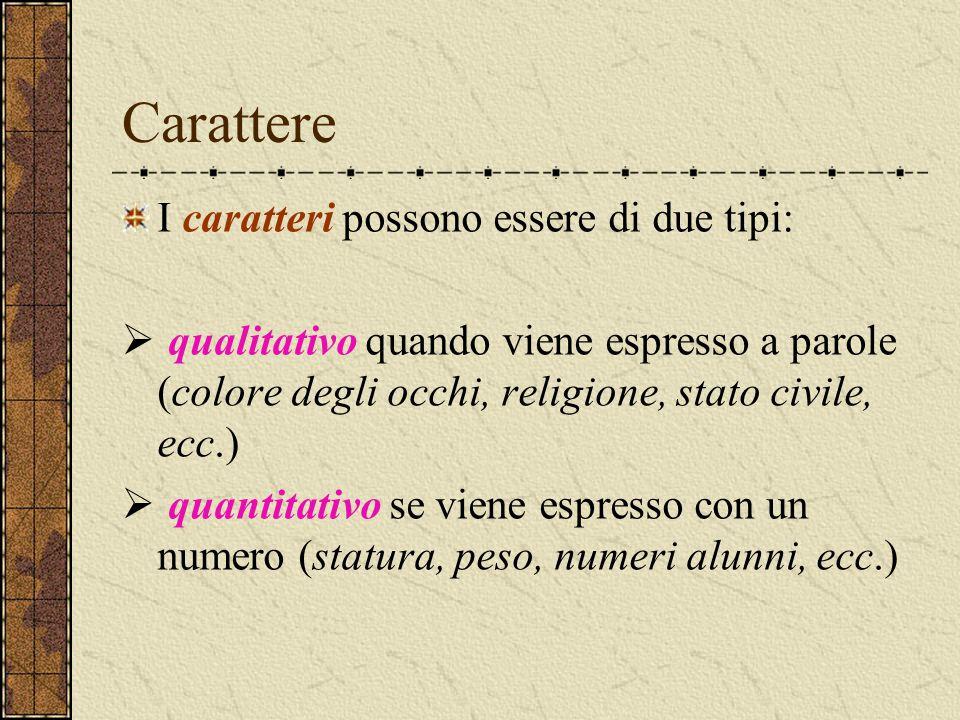 Carattere I caratteri possono essere di due tipi:  qualitativo quando viene espresso a parole (colore degli occhi, religione, stato civile, ecc.)  q