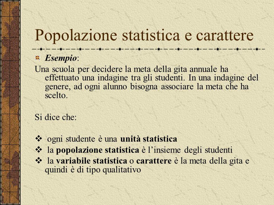 Popolazione statistica e carattere Esempio: Una scuola per decidere la meta della gita annuale ha effettuato una indagine tra gli studenti. In una ind