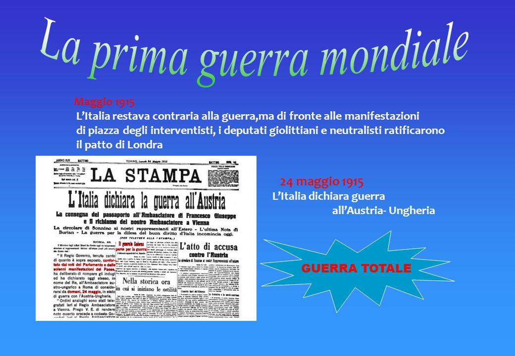 Il 2 Agosto 1914 l Austria attaccò la Serbia. l'Italia nel Marzo 1915 decise per la neutralità e chiese all'Austria compensi territoriali, ma la poten
