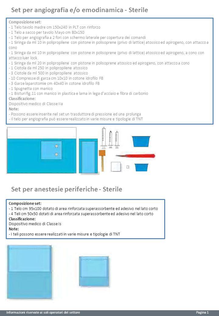 Set per angiografia e/o emodinamica - Sterile Informazioni riservate ai soli operatori del settore Pagina 1 Set per anestesie periferiche - Sterile Co