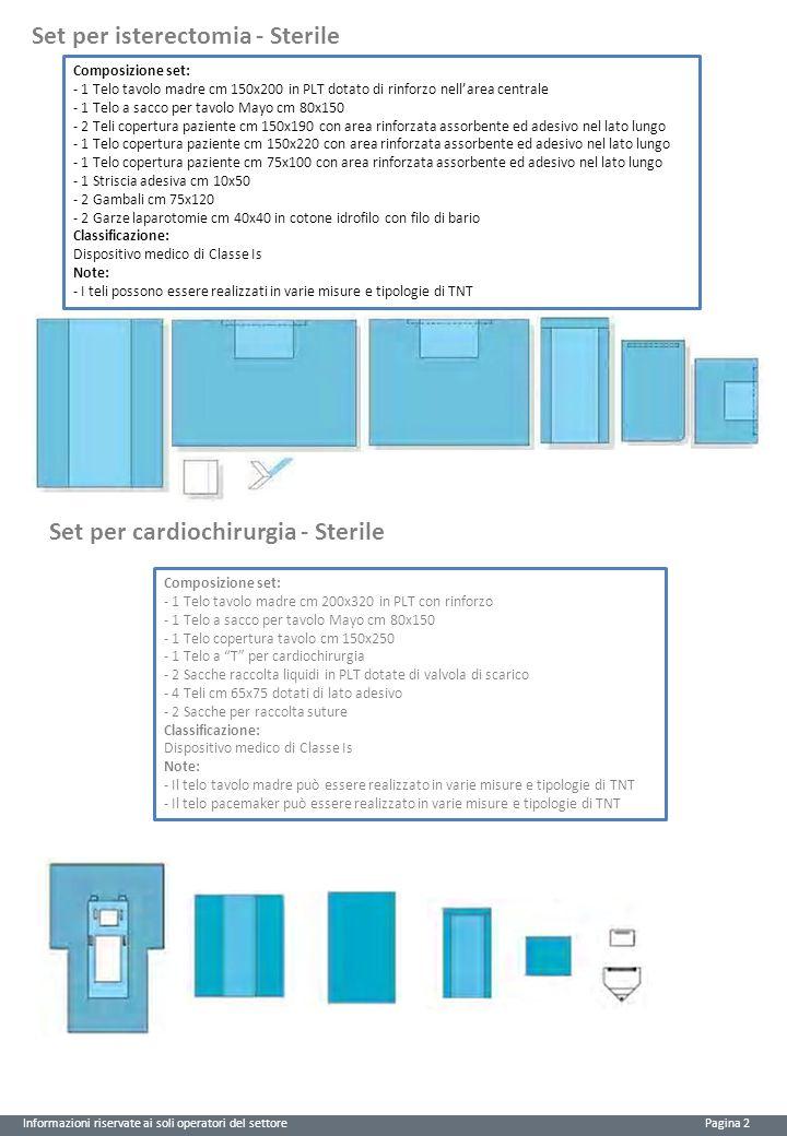Informazioni riservate ai soli operatori del settore Pagina 2 Set per isterectomia - Sterile Set per cardiochirurgia - Sterile Composizione set: - 1 T