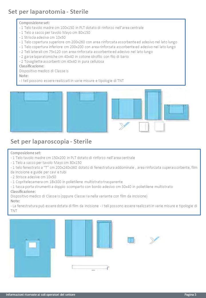 Informazioni riservate ai soli operatori del settore Pagina 3 Set per laparotomia - Sterile Composizione set: - 1 Telo tavolo madre cm 100x150 in PLT
