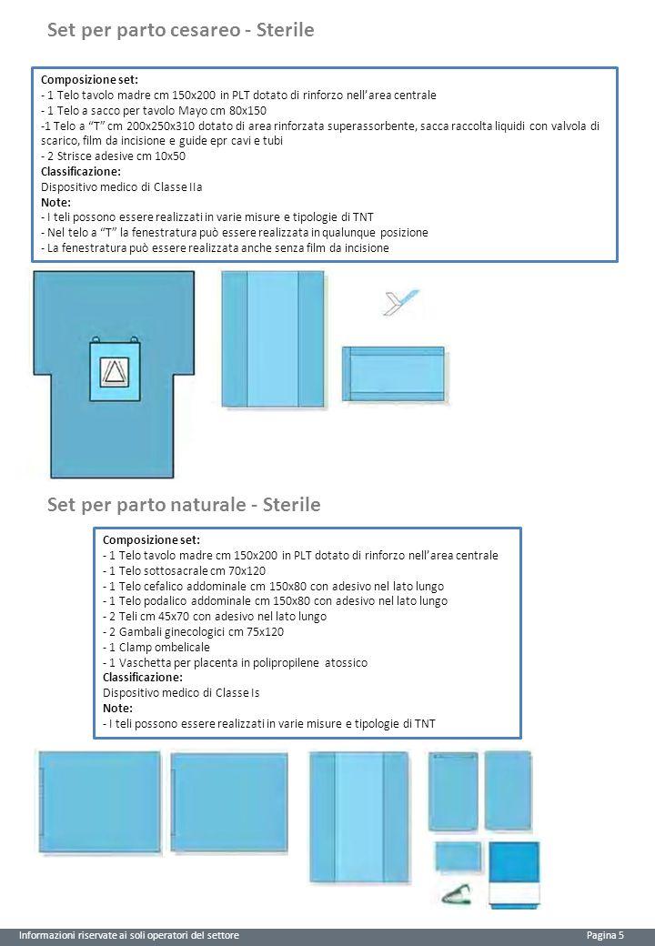 Informazioni riservate ai soli operatori del settore Pagina 5 Composizione set: - 1 Telo tavolo madre cm 150x200 in PLT dotato di rinforzo nell'area centrale - 1 Telo a sacco per tavolo Mayo cm 80x150 -1 Telo a T cm 200x250x310 dotato di area rinforzata superassorbente, sacca raccolta liquidi con valvola di scarico, film da incisione e guide epr cavi e tubi - 2 Strisce adesive cm 10x50 Classificazione: Dispositivo medico di Classe IIa Note: - I teli possono essere realizzati in varie misure e tipologie di TNT - Nel telo a T la fenestratura può essere realizzata in qualunque posizione - La fenestratura può essere realizzata anche senza film da incisione Set per parto naturale - Sterile Composizione set: - 1 Telo tavolo madre cm 150x200 in PLT dotato di rinforzo nell'area centrale - 1 Telo sottosacrale cm 70x120 - 1 Telo cefalico addominale cm 150x80 con adesivo nel lato lungo - 1 Telo podalico addominale cm 150x80 con adesivo nel lato lungo - 2 Teli cm 45x70 con adesivo nel lato lungo - 2 Gambali ginecologici cm 75x120 - 1 Clamp ombelicale - 1 Vaschetta per placenta in polipropilene atossico Classificazione: Dispositivo medico di Classe Is Note: - I teli possono essere realizzati in varie misure e tipologie di TNT Set per parto cesareo - Sterile