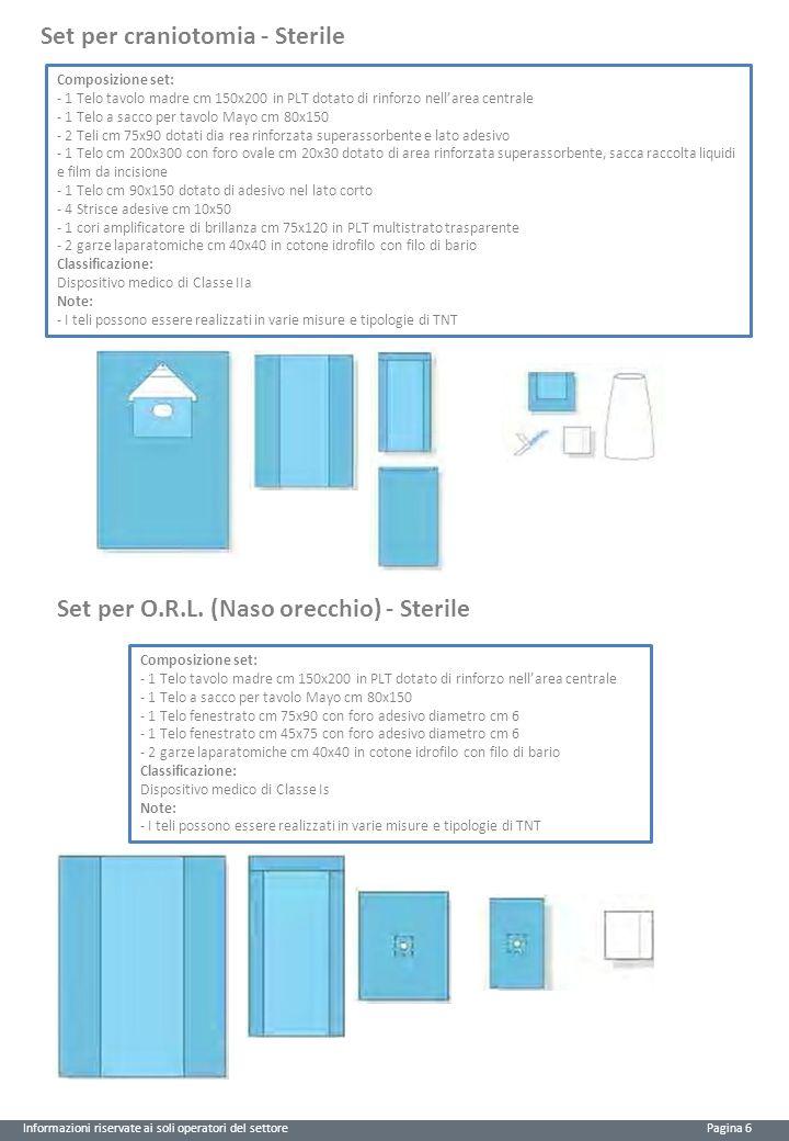 Informazioni riservate ai soli operatori del settore Pagina 6 Set per craniotomia - Sterile Composizione set: - 1 Telo tavolo madre cm 150x200 in PLT