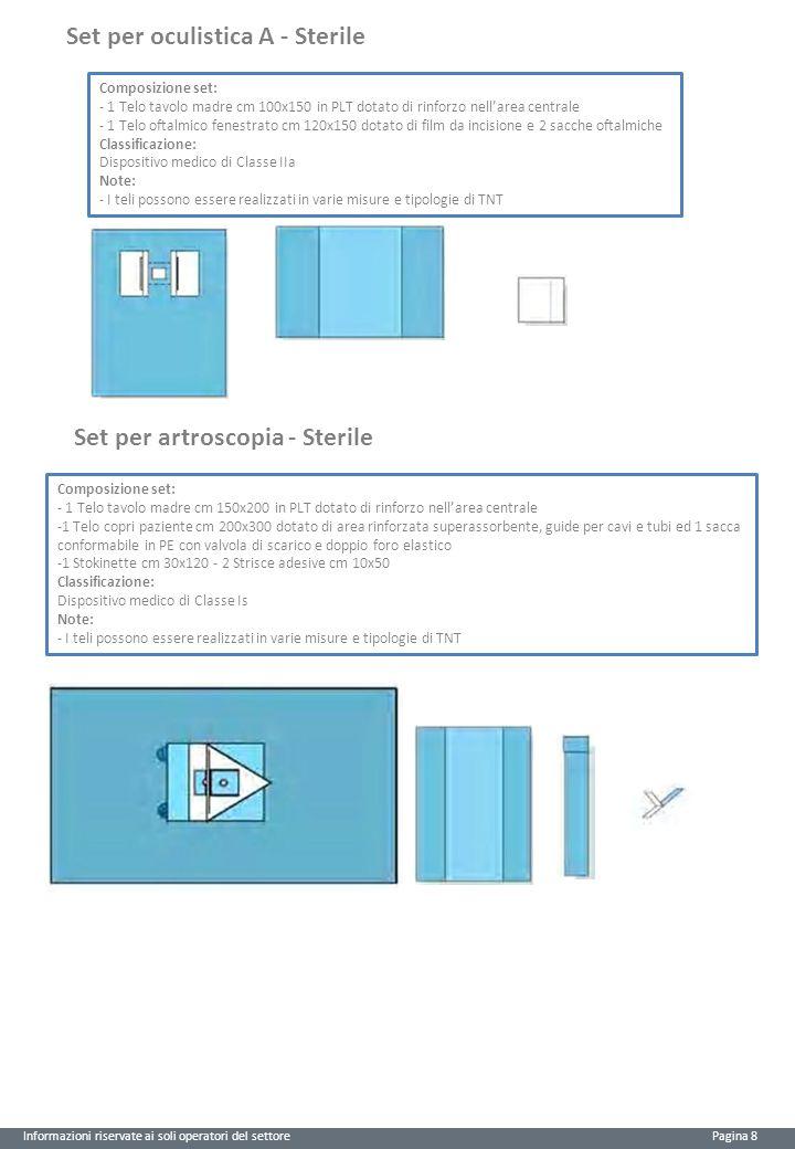 Informazioni riservate ai soli operatori del settore Pagina 8 Set per oculistica A - Sterile Composizione set: - 1 Telo tavolo madre cm 100x150 in PLT dotato di rinforzo nell'area centrale - 1 Telo oftalmico fenestrato cm 120x150 dotato di film da incisione e 2 sacche oftalmiche Classificazione: Dispositivo medico di Classe IIa Note: - I teli possono essere realizzati in varie misure e tipologie di TNT Set per artroscopia - Sterile Composizione set: - 1 Telo tavolo madre cm 150x200 in PLT dotato di rinforzo nell'area centrale -1 Telo copri paziente cm 200x300 dotato di area rinforzata superassorbente, guide per cavi e tubi ed 1 sacca conformabile in PE con valvola di scarico e doppio foro elastico -1 Stokinette cm 30x120 - 2 Strisce adesive cm 10x50 Classificazione: Dispositivo medico di Classe Is Note: - I teli possono essere realizzati in varie misure e tipologie di TNT