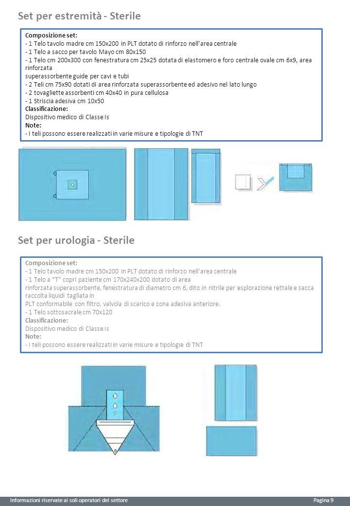 Informazioni riservate ai soli operatori del settore Pagina 9 Set per estremità - Sterile Composizione set: - 1 Telo tavolo madre cm 150x200 in PLT do