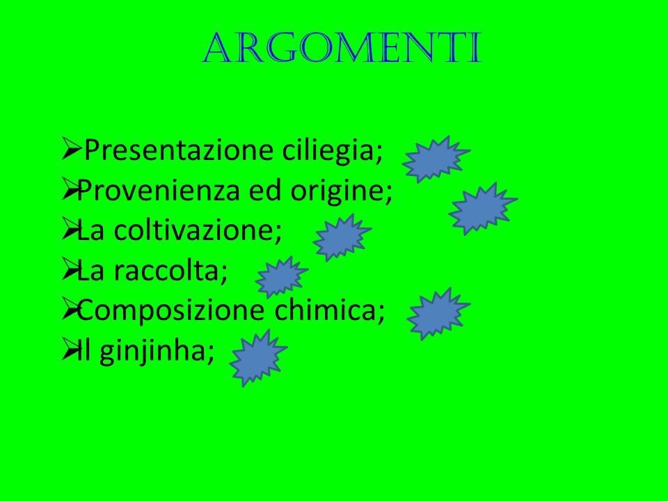 argomenti  Presentazione ciliegia;  Provenienza ed origine;  La coltivazione;  La raccolta;  Composizione chimica;  Il ginjinha;