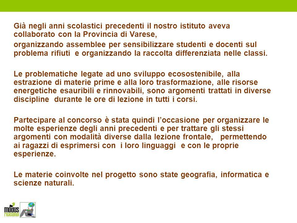 Già negli anni scolastici precedenti il nostro istituto aveva collaborato con la Provincia di Varese, organizzando assemblee per sensibilizzare studen