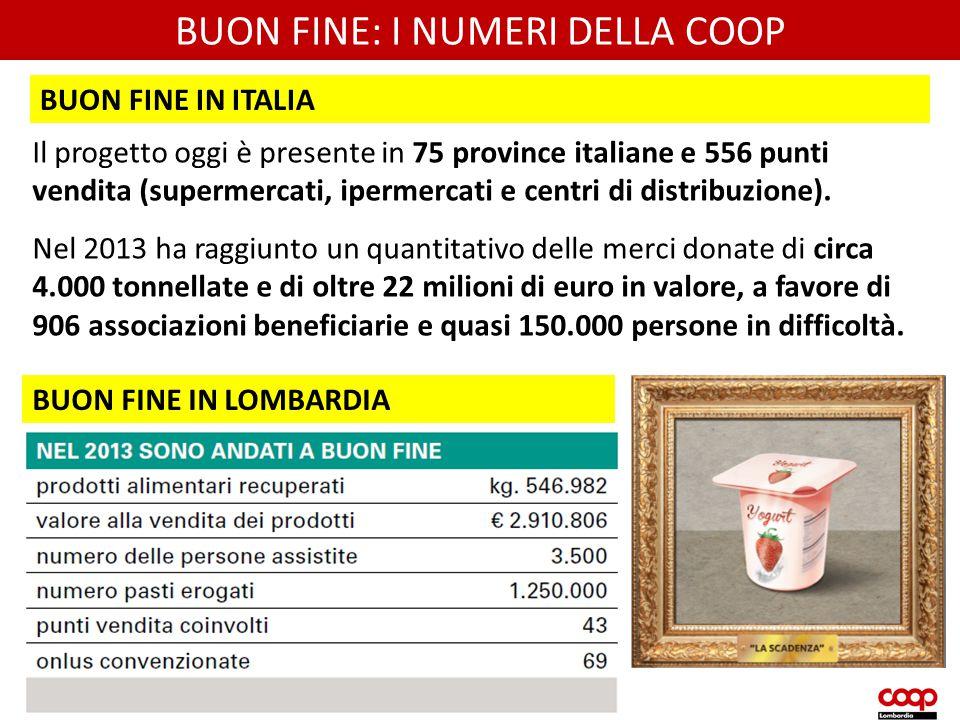 BUON FINE: I NUMERI DELLA COOP Il progetto oggi è presente in 75 province italiane e 556 punti vendita (supermercati, ipermercati e centri di distribu