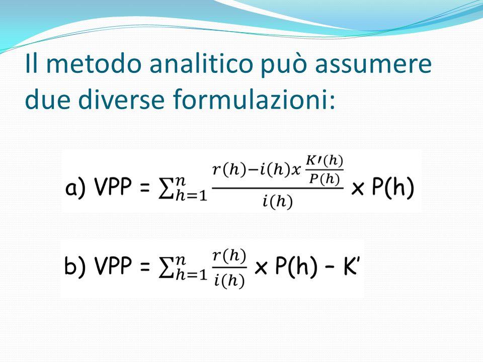 Il metodo analitico può assumere due diverse formulazioni: