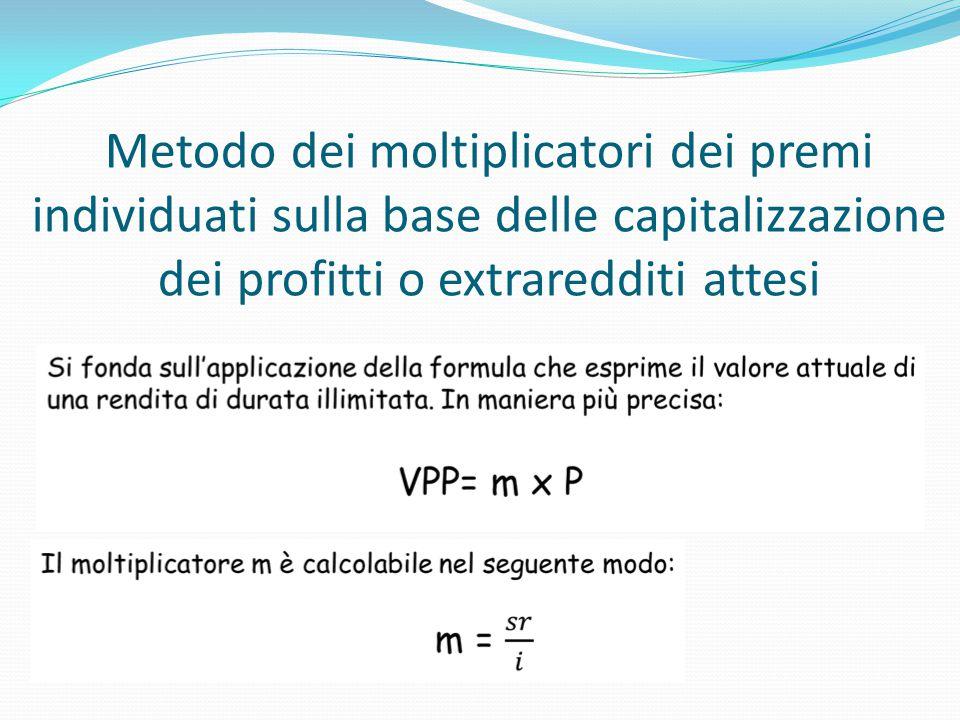 Metodo dei moltiplicatori dei premi individuati sulla base delle capitalizzazione dei profitti o extraredditi attesi