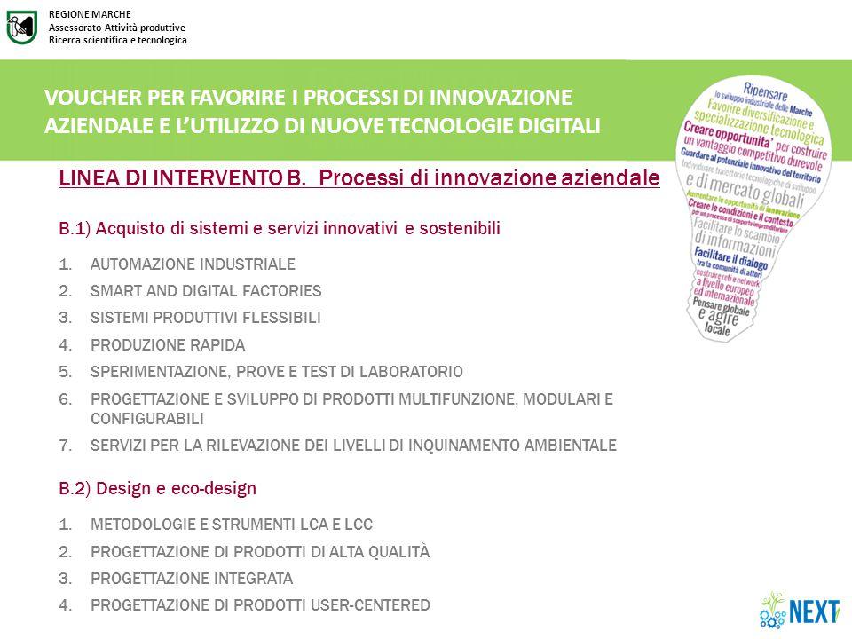 REGIONE MARCHE Assessorato Attività produttive Ricerca scientifica e tecnologica LINEA DI INTERVENTO B.