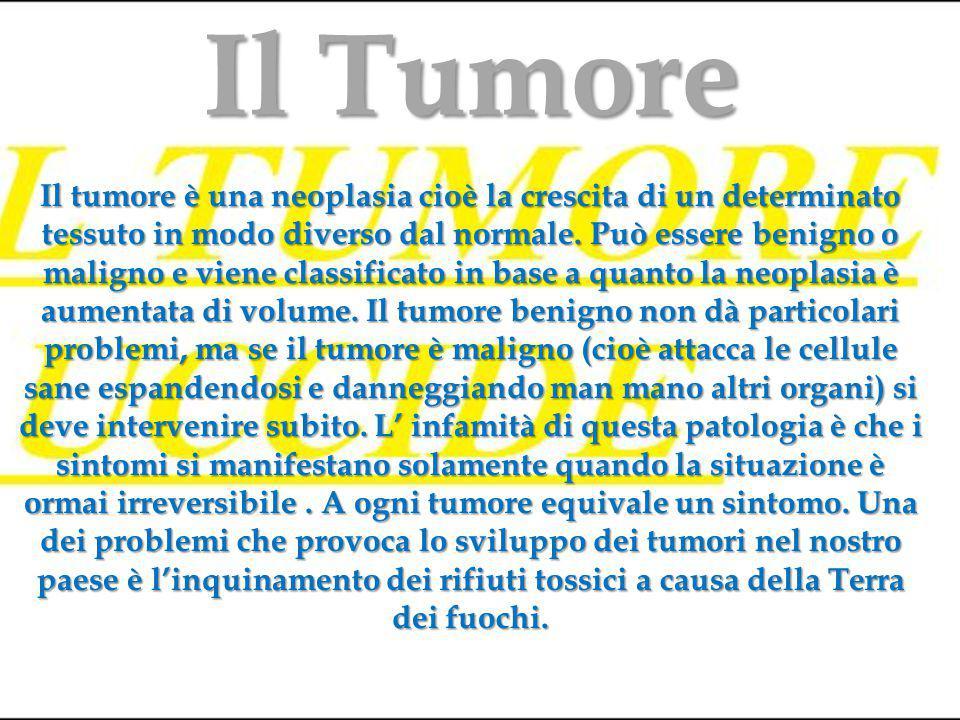 Il tumore è una neoplasia cioè la crescita di un determinato tessuto in modo diverso dal normale.