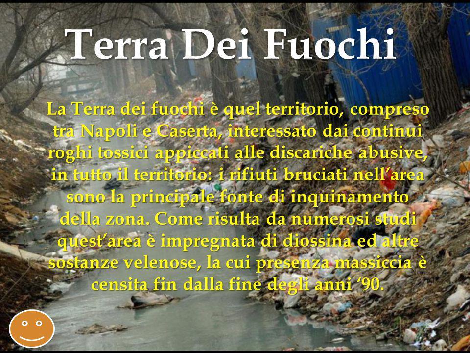 La Terra dei fuochi è quel territorio, compreso tra Napoli e Caserta, interessato dai continui roghi tossici appiccati alle discariche abusive, in tutto il territorio: i rifiuti bruciati nell'area sono la principale fonte di inquinamento della zona.