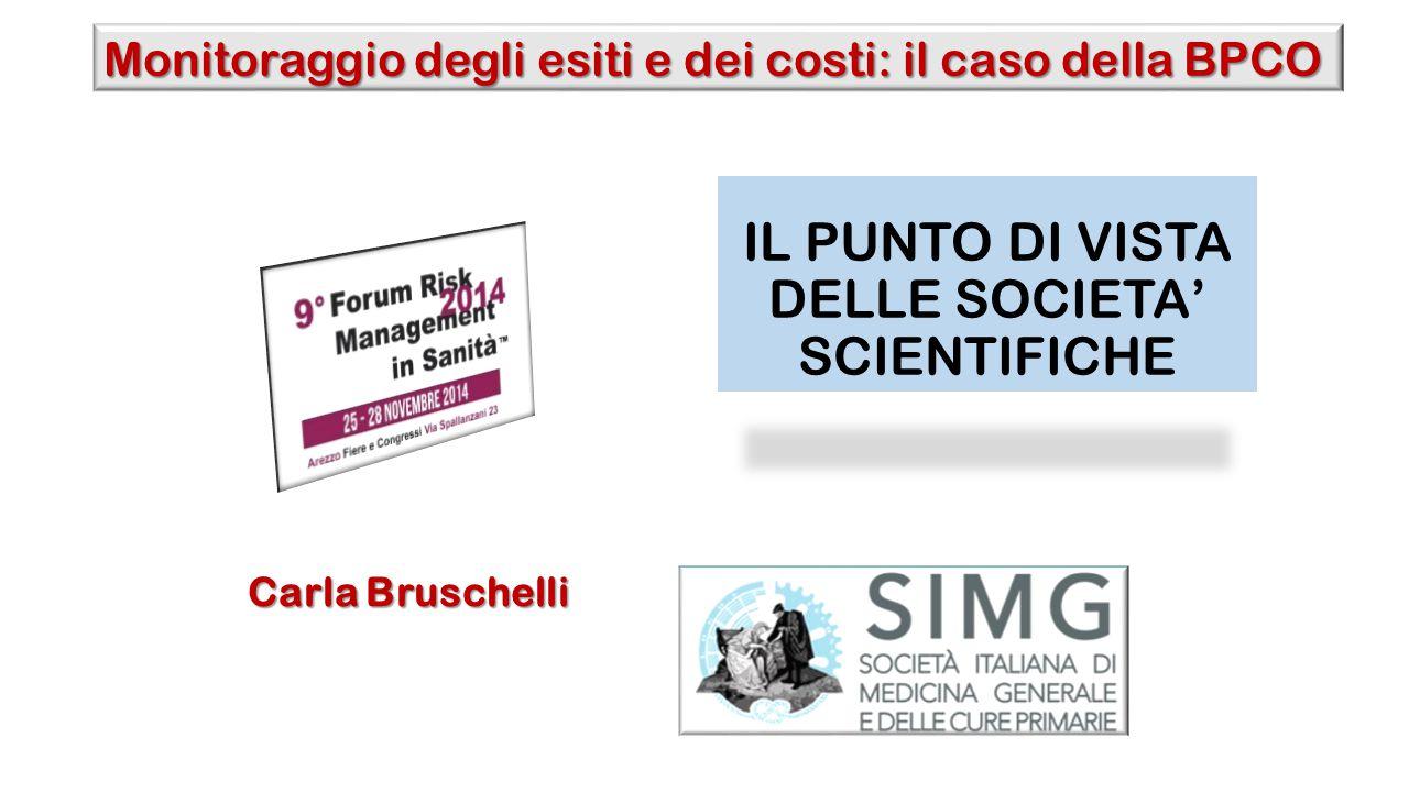 IL PUNTO DI VISTA DELLE SOCIETA' SCIENTIFICHE Carla Bruschelli Monitoraggio degli esiti e dei costi: il caso della BPCO
