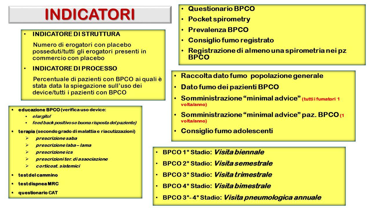 INDICATORI Questionario BPCO Pocket spirometry Prevalenza BPCO Consiglio fumo registrato Registrazione di almeno una spirometria nei pz BPCO Raccolta