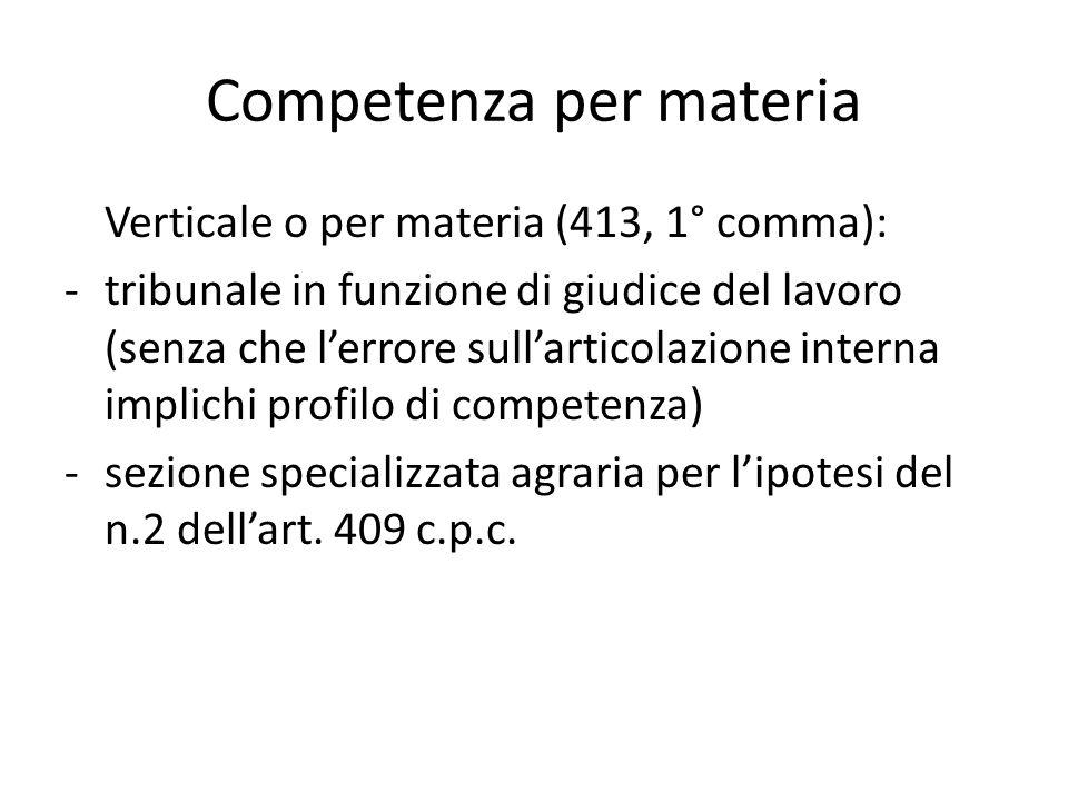 Competenza per materia Verticale o per materia (413, 1° comma): -tribunale in funzione di giudice del lavoro (senza che l'errore sull'articolazione in