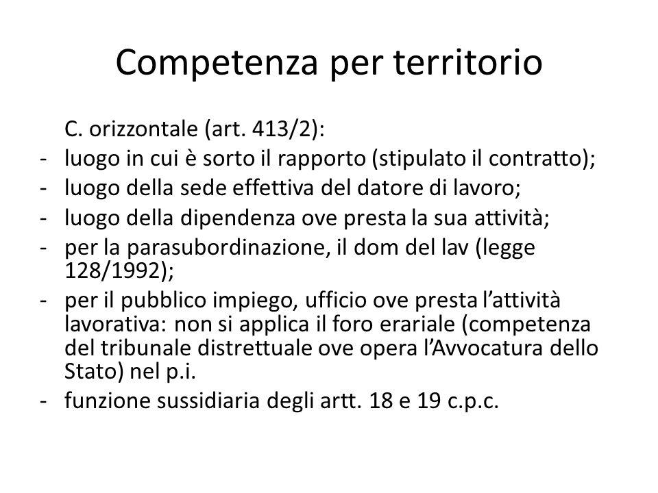 Competenza per territorio C. orizzontale (art. 413/2): -luogo in cui è sorto il rapporto (stipulato il contratto); -luogo della sede effettiva del dat